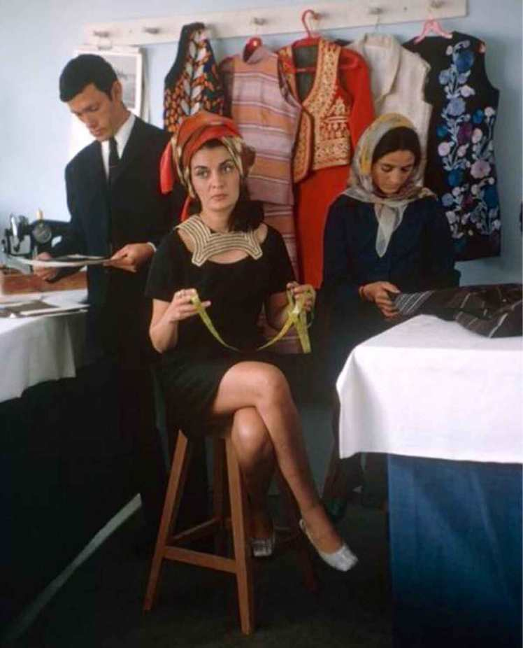 Afghan Fashion Designer Safia Tarzi in her studio 1969